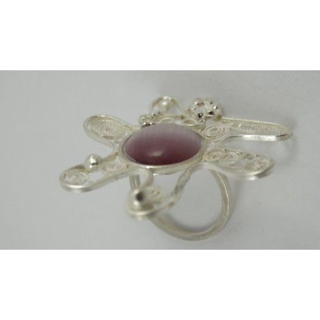 Sterling silver and pure filigree ring Strange Innuendo, Bijuterii de argint lucrate manual, handmade