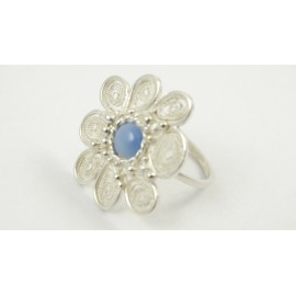 Sterling silver and pure filigree ring Fleurs Riches