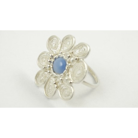 Sterling silver and pure filigree ring Fleurs Riches, Bijuterii de argint lucrate manual, handmade
