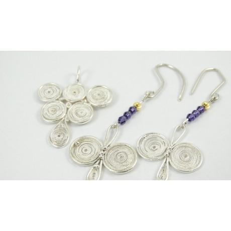 Sterling silver and pure filigree pendant Sweet Grapes, Bijuterii de argint lucrate manual, handmade