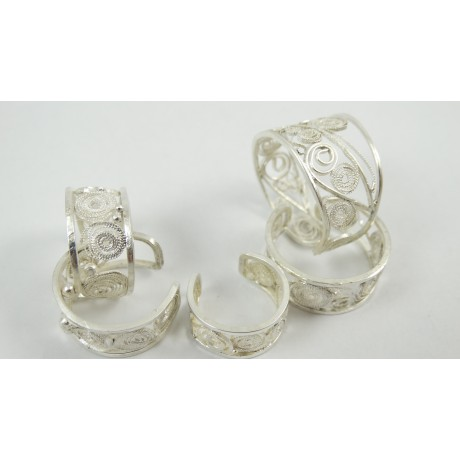 Sterling silver rings with pure filigree Finger Bands, Bijuterii de argint lucrate manual, handmade