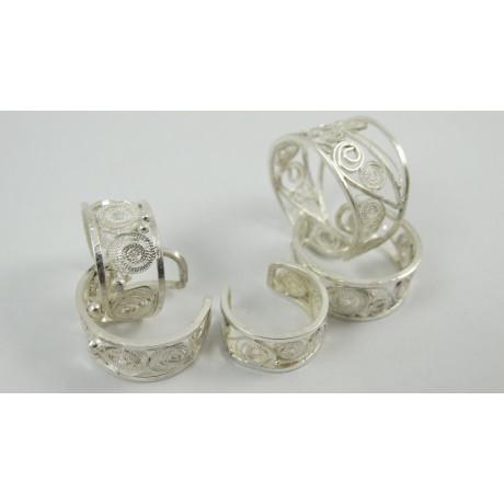 Inele filigran pur Finger Bands, Bijuterii de argint lucrate manual, handmade