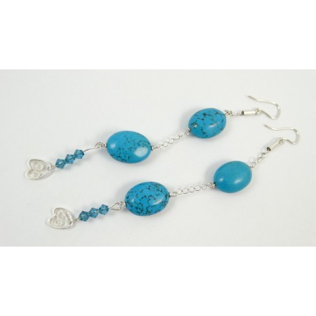 Sterling silver earrings Light Blues, Bijuterii de argint lucrate manual, handmade