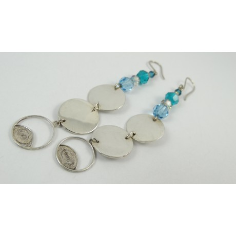 Sterling silver and pure silver filigree earrings I'll stick to the Finest, Bijuterii de argint lucrate manual, handmade