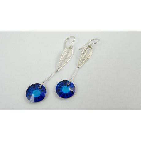 Sterling silver and pure filigree ring J'aime les Blues, Bijuterii de argint lucrate manual, handmade