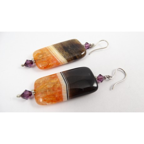 Sterling silver earrings Ginger Rain, Bijuterii de argint lucrate manual, handmade
