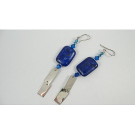 Sterling silver earrings Lapis Rope, Bijuterii de argint lucrate manual, handmade