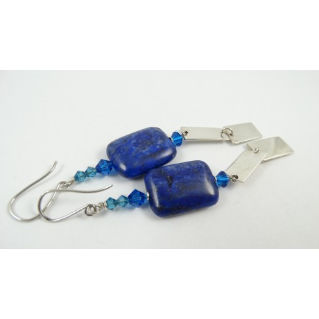 Sterling silver earrings Lapis Rope, Bijuterii de argint lucrate manual, handmade