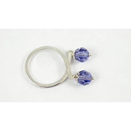 Sterling silver ring Crystal Spikes, Bijuterii de argint lucrate manual, handmade