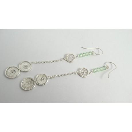 Sterling silver and pure filigree earrings Contessina, Bijuterii de argint lucrate manual, handmade