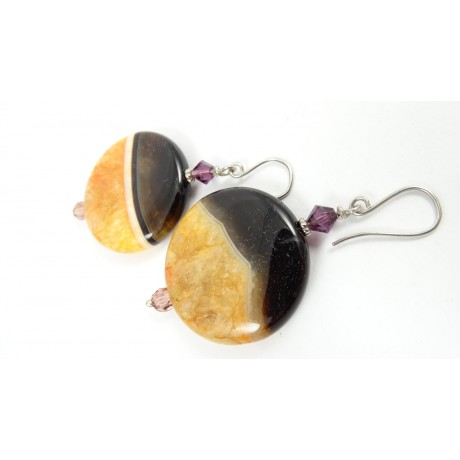 Sterling silver earrings Crystal Clear, Bijuterii de argint lucrate manual, handmade