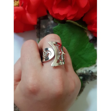 Sterling silver ring with 14k gold, Tease and Please,, Bijuterii de argint lucrate manual, handmade