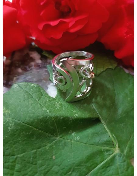 Inel Tease and Please din Ag masiv Ag925 cu aur 14k, Bijuterii de argint lucrate manual, handmade