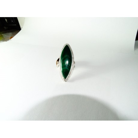 Sterling silver ring Rhetoric of Passion with natural malachite, Bijuterii de argint lucrate manual, handmade