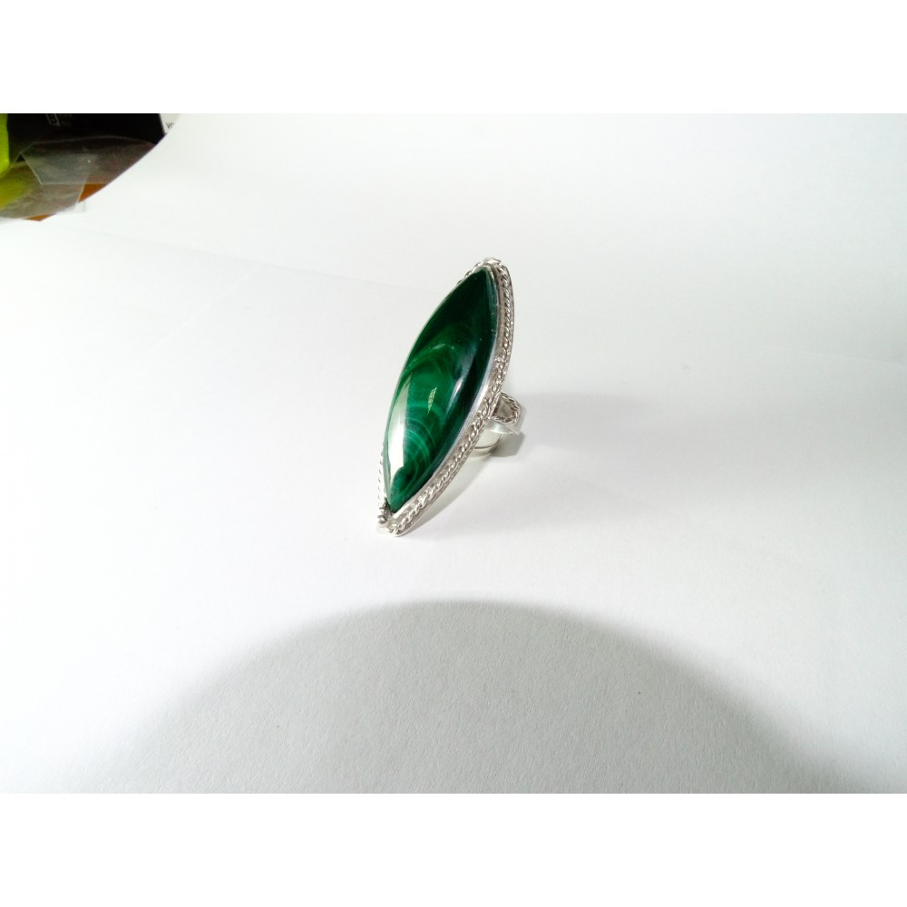 Sterling silver ring Rhetoric of Passion with natural malachite