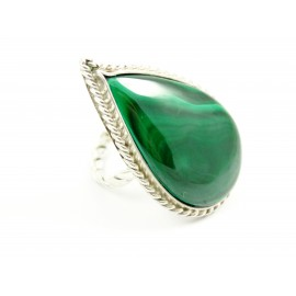 Large sterling silver ring OverGreens and Undertones with natural malachite