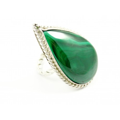Large sterling silver ring OverGreens and Undertones with natural malachite, Bijuterii de argint lucrate manual, handmade