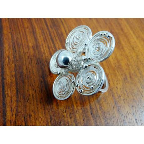 Sterling silver and pure filigree ring Splendeur, Bijuterii de argint lucrate manual, handmade