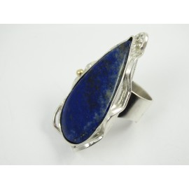 Unique Sterling silver ring with large natural lapislazuli Deepest Blues