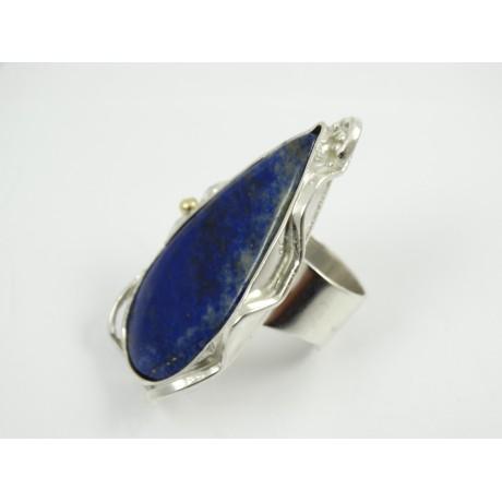 Unique Sterling silver ring with large natural lapislazuli Deepest Blues, Bijuterii de argint lucrate manual, handmade