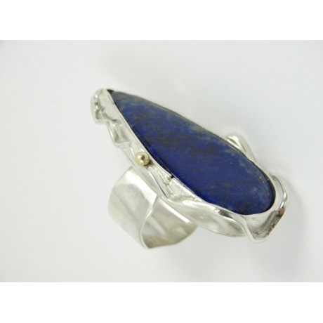 Unique Sterling silver ring with large natural lapislazuli Deepest Blues, Bijuterii de argint lucrate manual, handmade