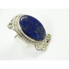 Sterling silver ring Amour Gourmand with large natural lapislazuli