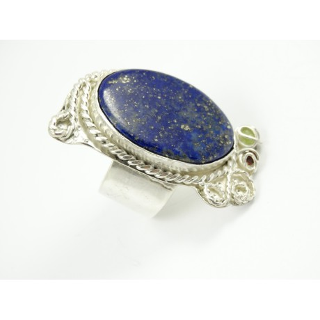Sterling silver ring Amour Gourmand with large natural lapislazuli, Bijuterii de argint lucrate manual, handmade