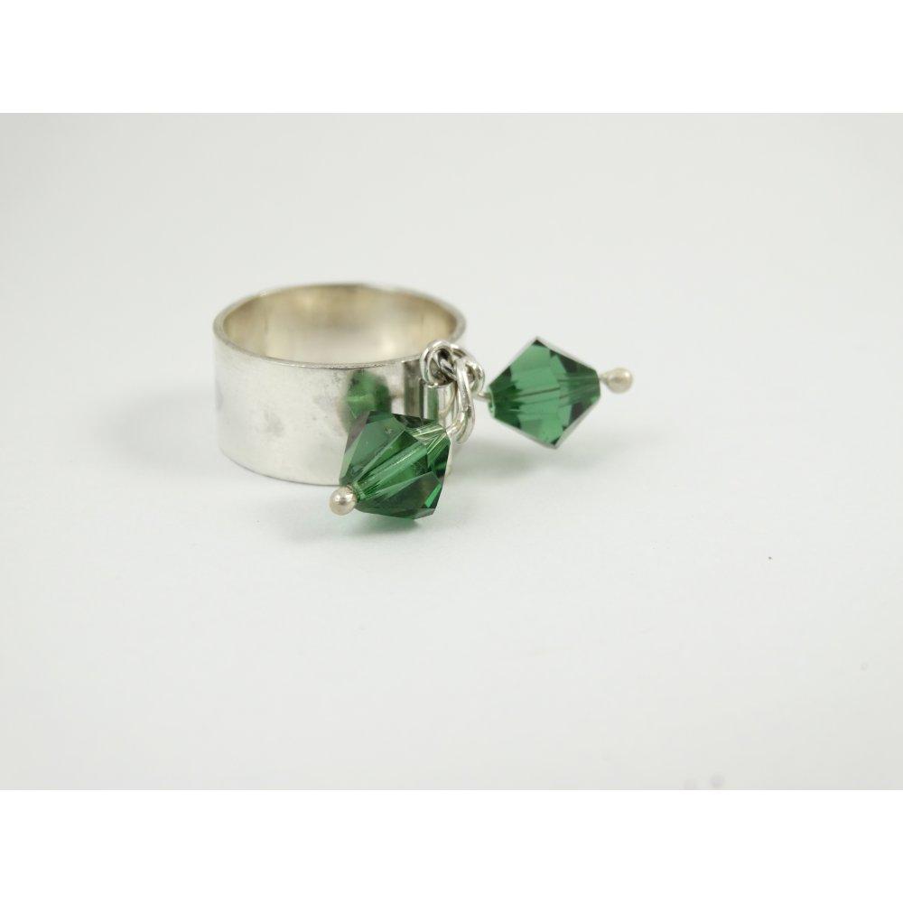 Sterling silver ring Greenish Bang
