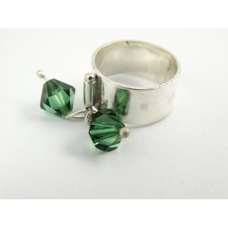 Sterling silver ring Greenish Bang, Bijuterii de argint lucrate manual, handmade