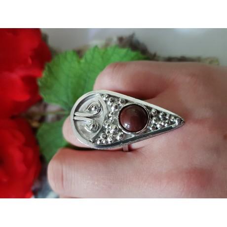 Sterling silver ring with natural jade, Bijuterii de argint lucrate manual, handmade