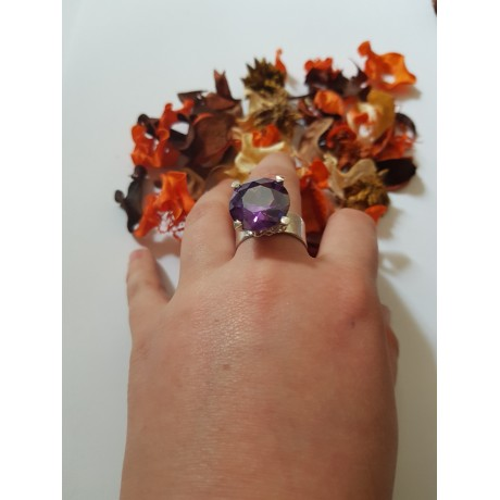 Sterling silver ring Purple Fever, Bijuterii de argint lucrate manual, handmade
