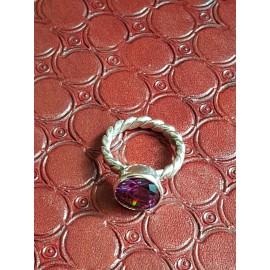 Inel masiv Ag925 cu piatră dalloz asiatică Ametist Purple Times, Bijuterii de argint lucrate manual, handmade
