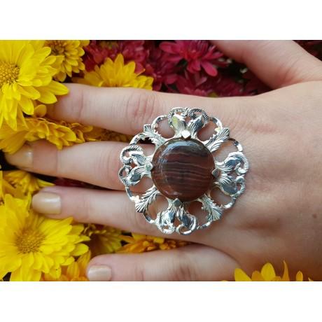 Sterling silver ring with dark brown agath, Bijuterii de argint lucrate manual, handmade