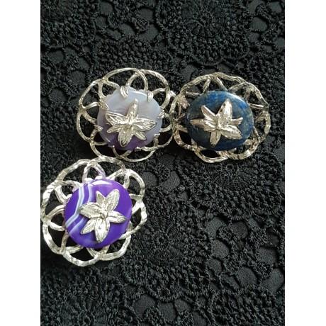 Sterling silver ring with round purple agath stone, Bijuterii de argint lucrate manual, handmade