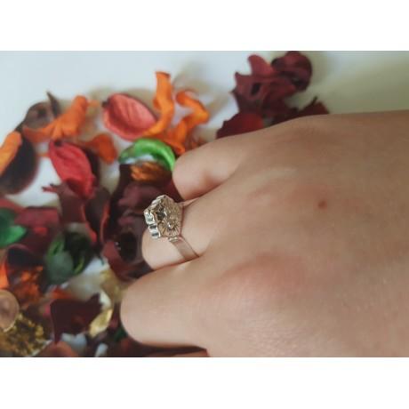 Sterling silver ring Flower Top, Bijuterii de argint lucrate manual, handmade