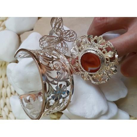 Silver ring with round agath stone, Bijuterii de argint lucrate manual, handmade