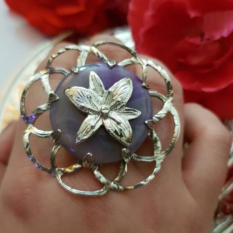 Sterling silver ring with agath, Bijuterii de argint lucrate manual, handmade