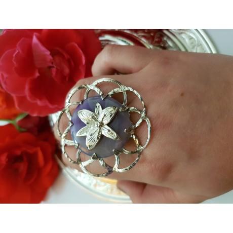 Sterling silver ring with african amethyst, Bijuterii de argint lucrate manual, handmade