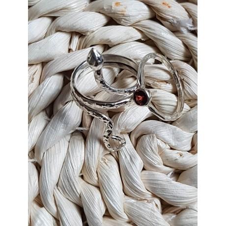 Sterling silver ring with natural garnet Summer Hot, Bijuterii de argint lucrate manual, handmade