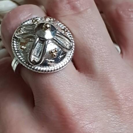 Sterling silver ring with 14k gold Summer Leissure, Bijuterii de argint lucrate manual, handmade