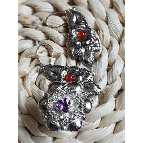 Sterling silver ring with natural amethyst, Bijuterii de argint lucrate manual, handmade