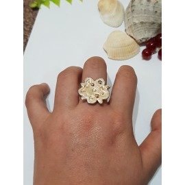 Sterling silver ring with 14k gold Golden Tapestry