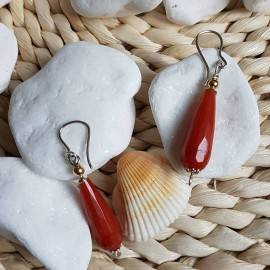 Sterling silver earrings with natural agate stones, Bijuterii de argint lucrate manual, handmade