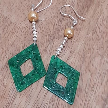 Sterling silver earrings Jade Sense , Bijuterii de argint lucrate manual, handmade
