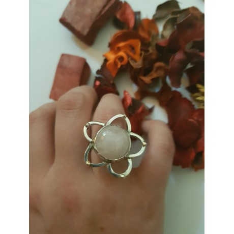 Sterling silver ring with natural quartz and 14k gold Love Flames, Bijuterii de argint lucrate manual, handmade