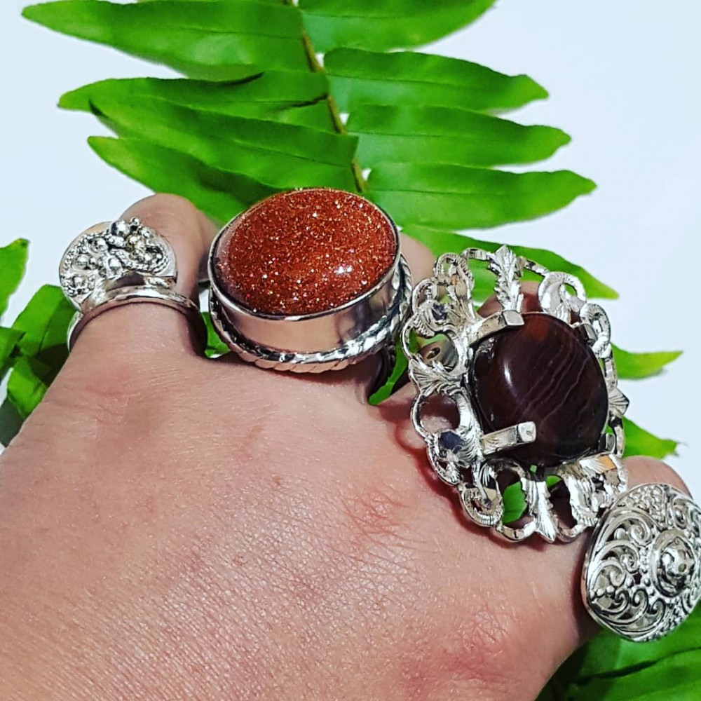 Massive Sterling silver ring with natural goldstone Summer Well