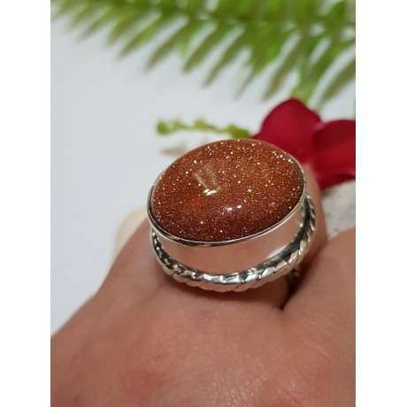 Massive Sterling silver ring with natural goldstone Summer Well, Bijuterii de argint lucrate manual, handmade