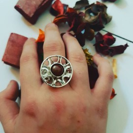 Sterling silver ring with natural jade  Sun Wheel