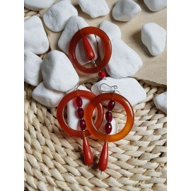 Sterling silver earrings &pendant with natural red agate stones