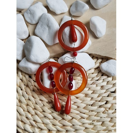 Sterling silver earrings &pendant with natural red agate stones, Bijuterii de argint lucrate manual, handmade